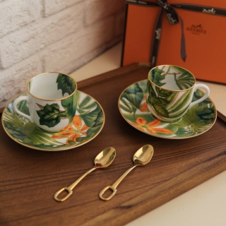 Набор кофейных пар Hermes Passifolia 120 мл (с ложечками) 10443 -