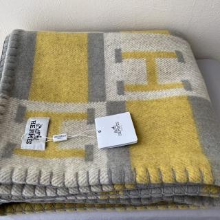 Плед Hermes (10459) серый/желтый, квадраты -