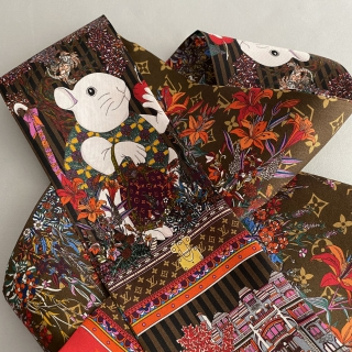 Двусторонняя шёлковая лента Twilly Louis Vuitton (10670) -