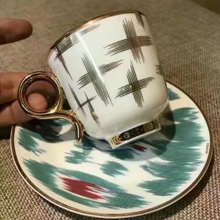 "Набор кофейных пар HERMES ""VOYAGE EN IKAT"" (120 мл.) -"
